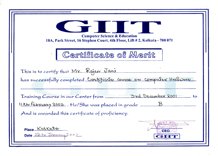 Giit Computer Science Education Certificate On Computer Hardware