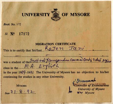 Mysore_MA(Eng)_MigrationCertificate