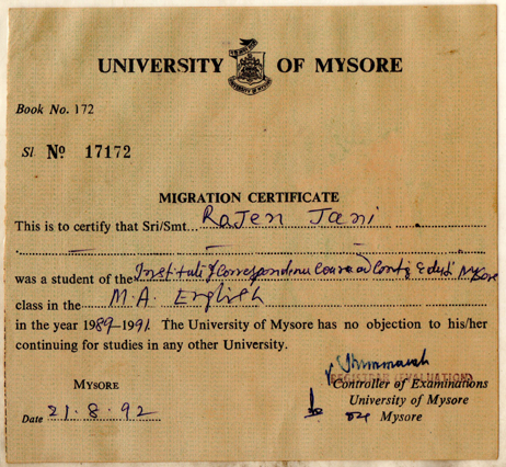 Mysore_MA(Eng)_MigrationCertificate